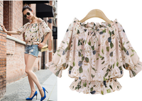 2016 apparel Boohoo Womens Ladies Shirred Off The Shoulder print floral Top Long Sleeve Blouse shirts