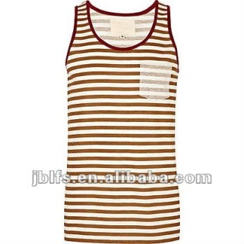 OEM summer popular slim fit stripe pocket vest for mens
