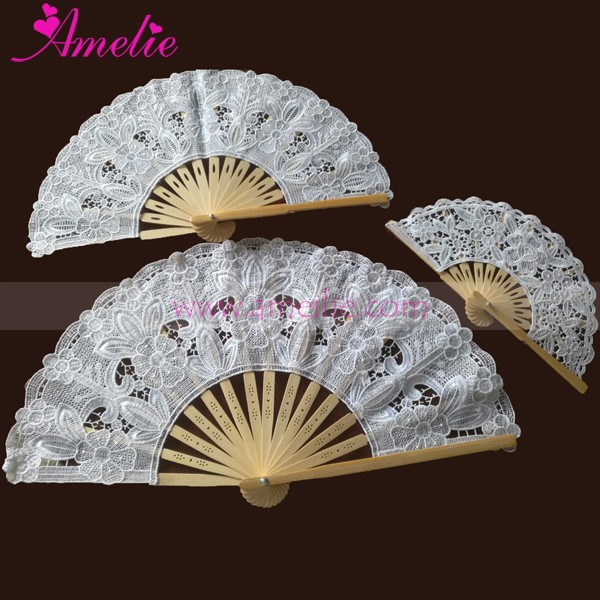 3 Assorted Sizes Embroidery Lace Hand Fan as Wedding Favors Gifts Fan