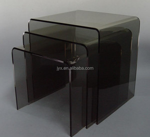 3pc Black Plexiglass Lucite Stacking Acrylic Nesting Table Set - Acrylic riser