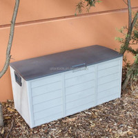 Lockable Outdoor Storage Box - Grey - Weatherproof Garden Deck Toy Tools Shed