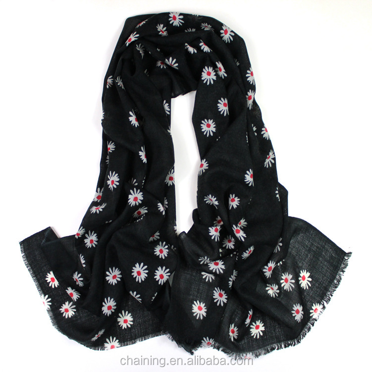 2017 new daisy printed 100% wool soft voile wrap scarf for women