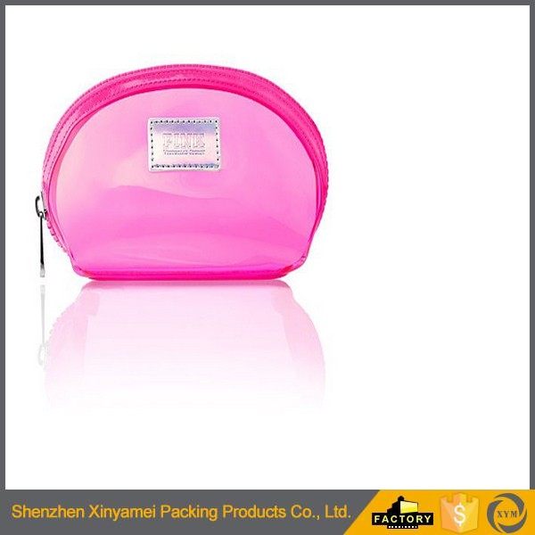 clear plastic gold zipper pouch vinly pvc makeup bagGirl clear plastic makeup bag, travel wholesale cosmetic clear plastic bags