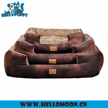 Luxury Fashion Leopard Print Fleece Chamois HELLOPUPPY Dog Bed For Sale