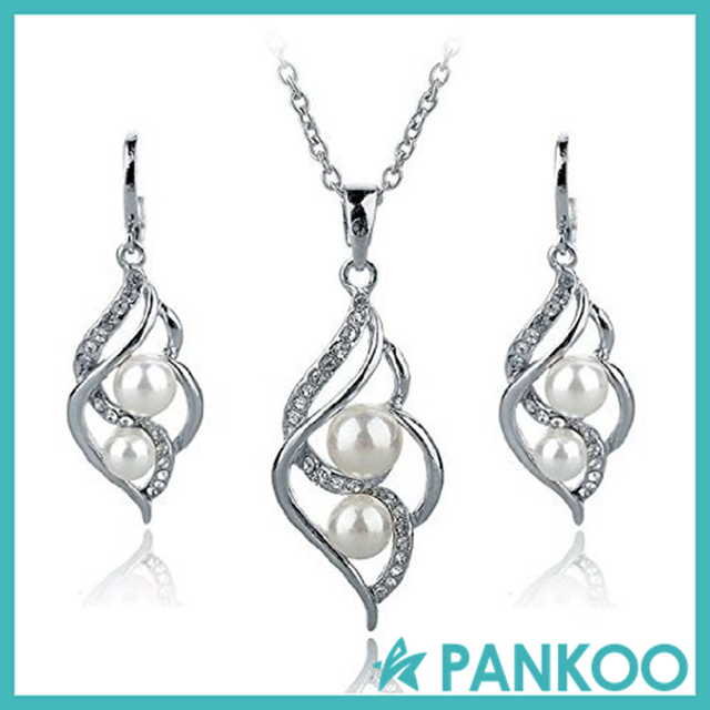 Silver/Gold Filled Pearl Jewelry Set Crystal Stud Earrings Pendant Necklace Sets for Women Girls Birthday Gifts