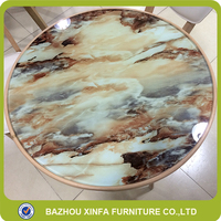 Bazhou Manufacturer Fancy Round Marble Grain Transfer Glass Top Metal Base Veranda Coffee Dining Table