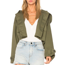 Ladies young fashion clothing Front button cotton crop women short hooded jacket