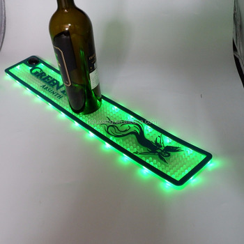 Custom Branded LED barmat Soft PVC Rubber LED Beer Bar Mat With Factory price,led bar mat,rubber bar table mat