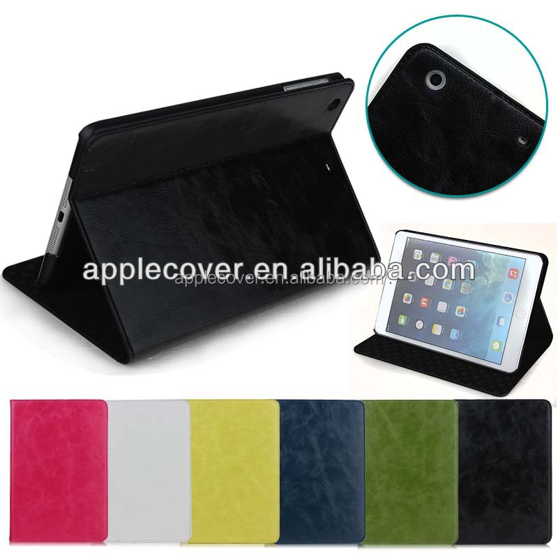 High Quality Crazy Horse Leather Stand Case For iPad Mini 1/2/3 , For apple iPad Mini 1 2 3 case cover