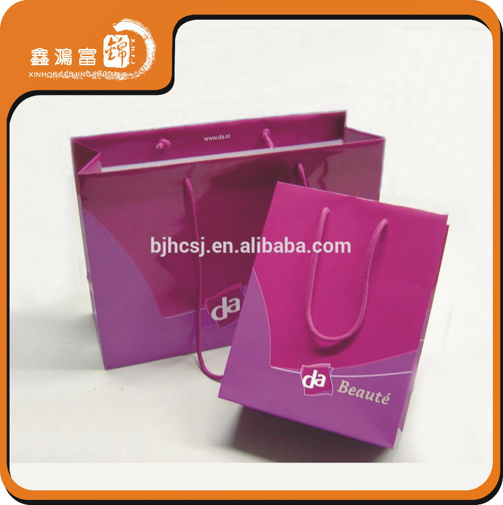 High quality gloss laminated cosmetic art paper bag packaging