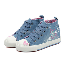denim high top hot sale arrival kids girls canvas casual shoes