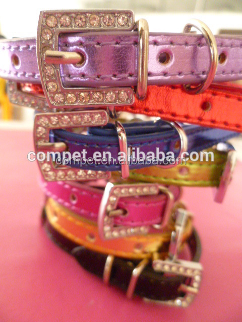 Zinc Alloy Rhinestones Buckle Pet Dog Collars 10MM Metallic and Matte PU Leather DIY Letters Personalized Slide Pet Collars