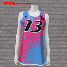 Tight fit sublimated women custom basketball jersey pink