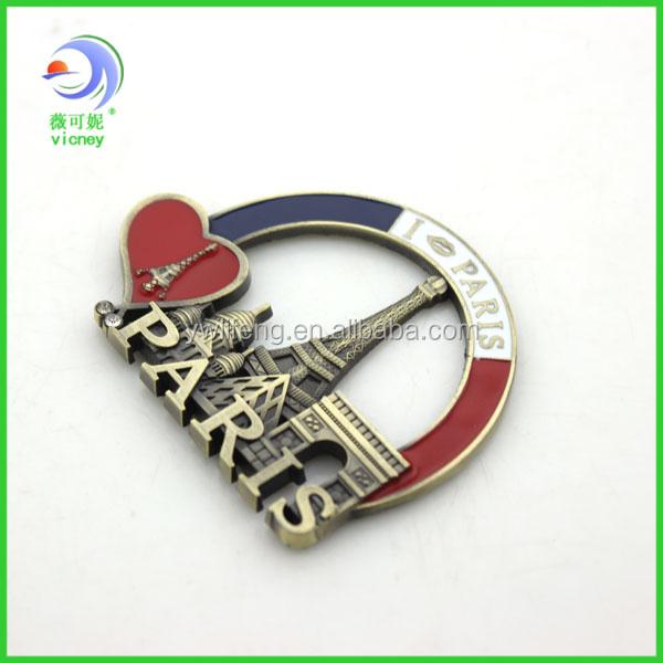 Custom Souvenir Paris Metal Fridge Magnets City World
