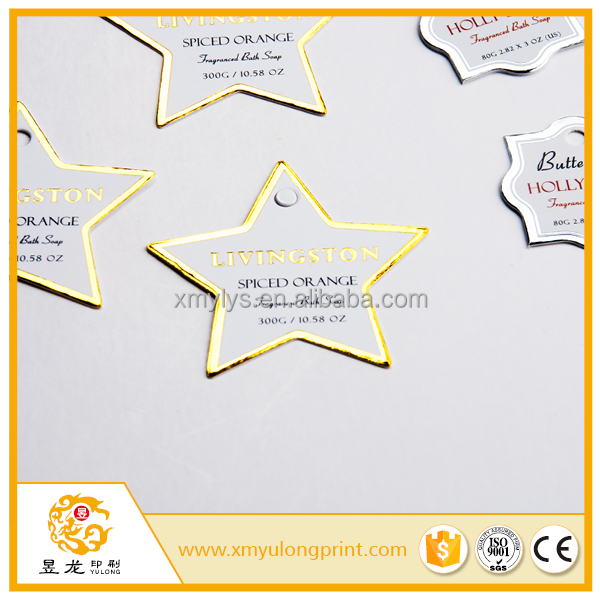 starlike shape hole punch hang tag with silver gold foil stamping cheap price