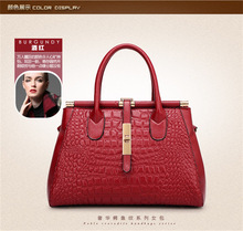 Luxury genuine leather crocodile women handbag withlock and metal rod