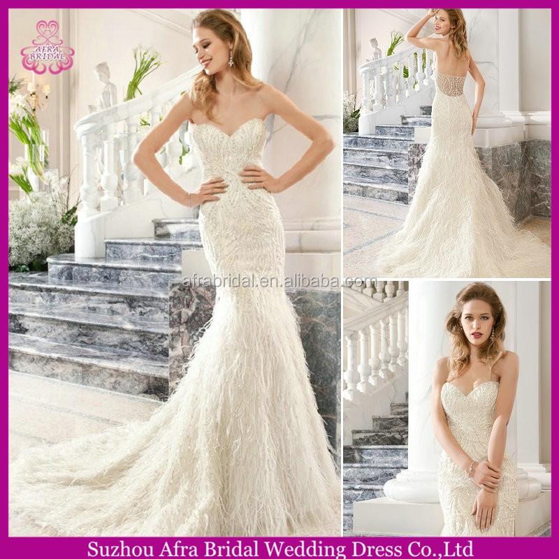 Dresses cheap mermaid wedding dress feather skirt product on alibaba