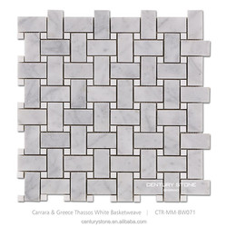 white honed basket weave marble mosaics bathroom floor tile home depot