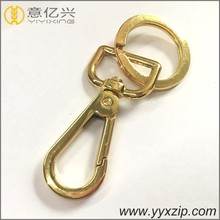 Glossy gold color metal keychain engraved logo swivel hook flat key ring