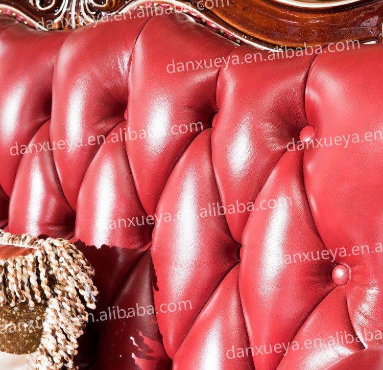 European Classic Wood Genuine Leather Living Room Furniture Sofa Set ...