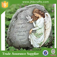 Pretty angel figurine with Bless Outdoor Blue Garden Stones