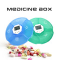 High quality mini round plastic digital pill box travel capsule storage case medication reminder alarm reminding timer capsule s