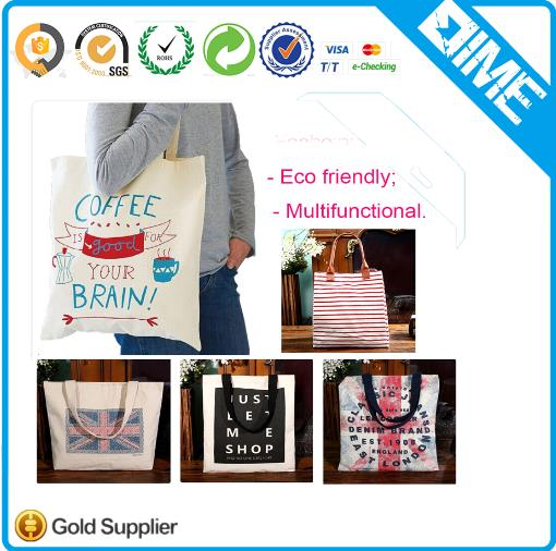 Cotton Material And Handled Style Full Color Custom Printed Canvas Tote Bags