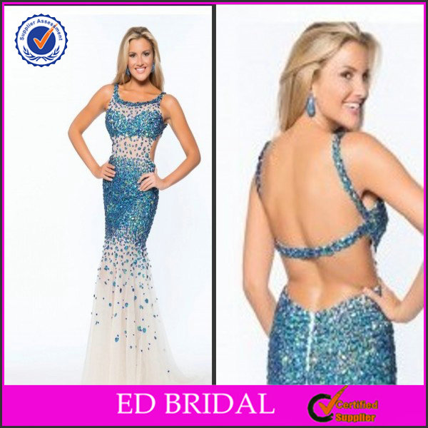 2014 Spaghetti Strap Beaded Keyhole Back Designer Evening Gowns For Rent In Manila