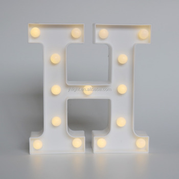 Pretty decorative alphabet plastic letter H with AA battery operated