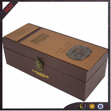 top quality cardboard wine box with leather attached