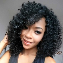 Natural Black Color Afro Kinky Curly Wigs Synthetic Hair Wigs For African American Women High Temperature Fiber