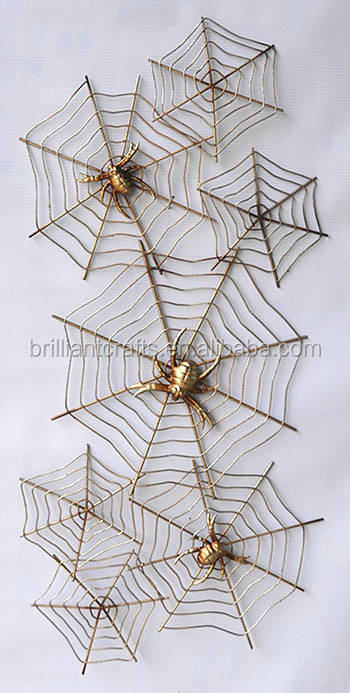 Factory metal halloween spider web wall decorations