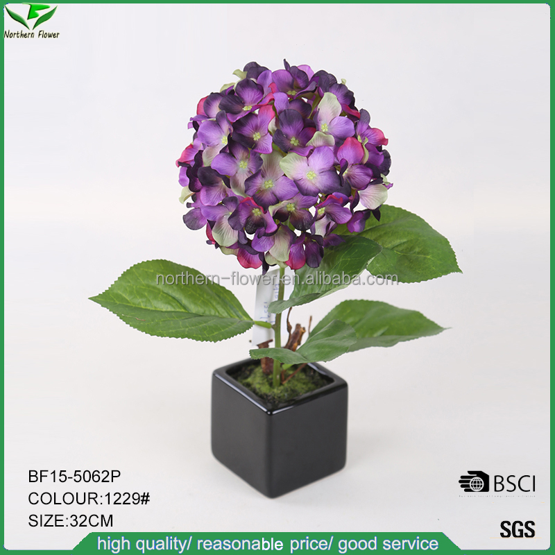 32cm height artificial hydrangea wedding flowers in black ceramic square pot