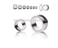316l stainless steel internal thread double flare ear tunnels, ear plugs body piercing jewelry