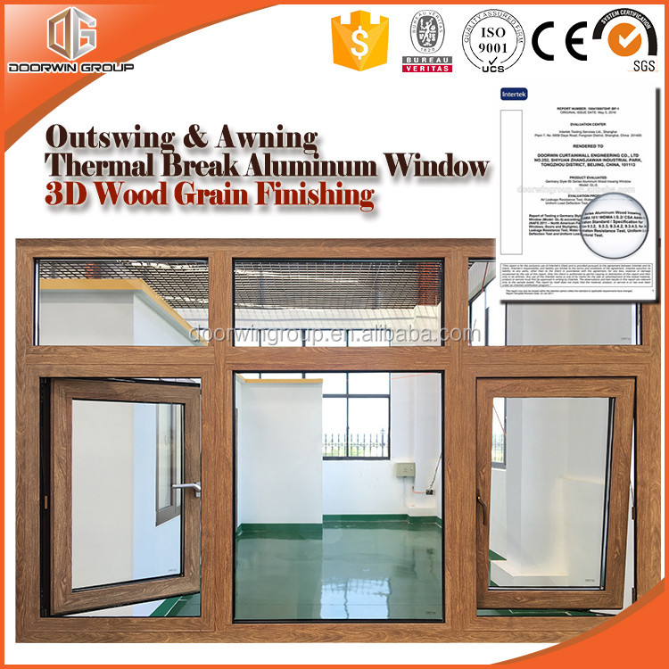 Thermal Break Aluminum Casement & Awning Window 3D Wood Grain Color Finishing AS2047