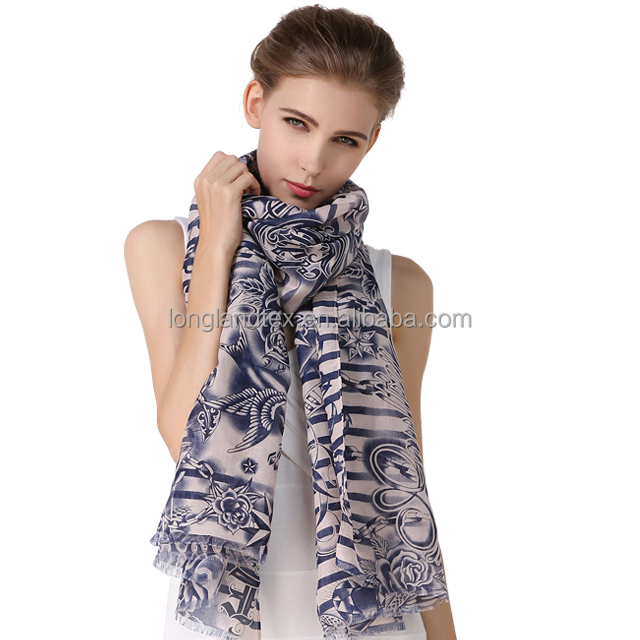 Top end quality scarves silk with digital print for woman