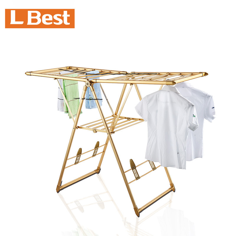 Adjustable folding clothes rack