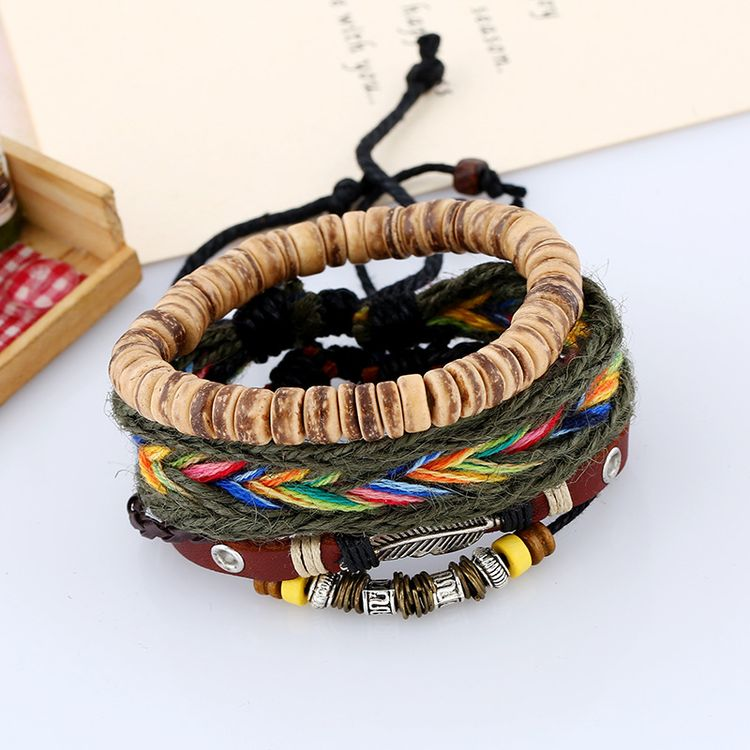 Fashion Handmade DIY Hemp Rope Weave Bracelet Set With Coconut Bead Alloy Feather Mens Leather Bracelet