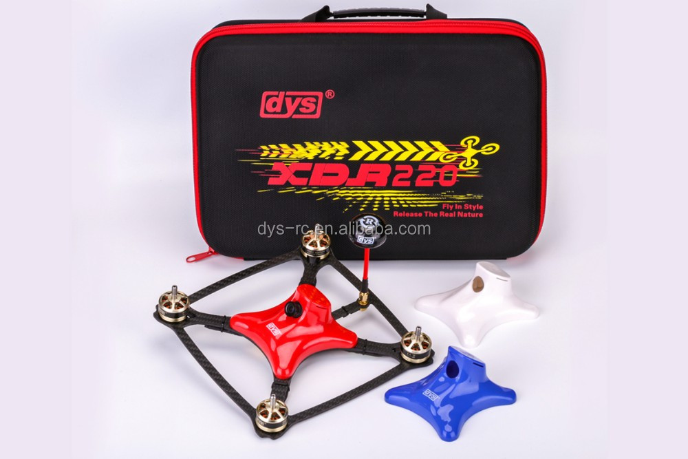 DYS X-sized racer frame XDR220 with built-in flight control SP F3 and PDB, motor SE2205-2300KV, XS20A, and prop XT50403
