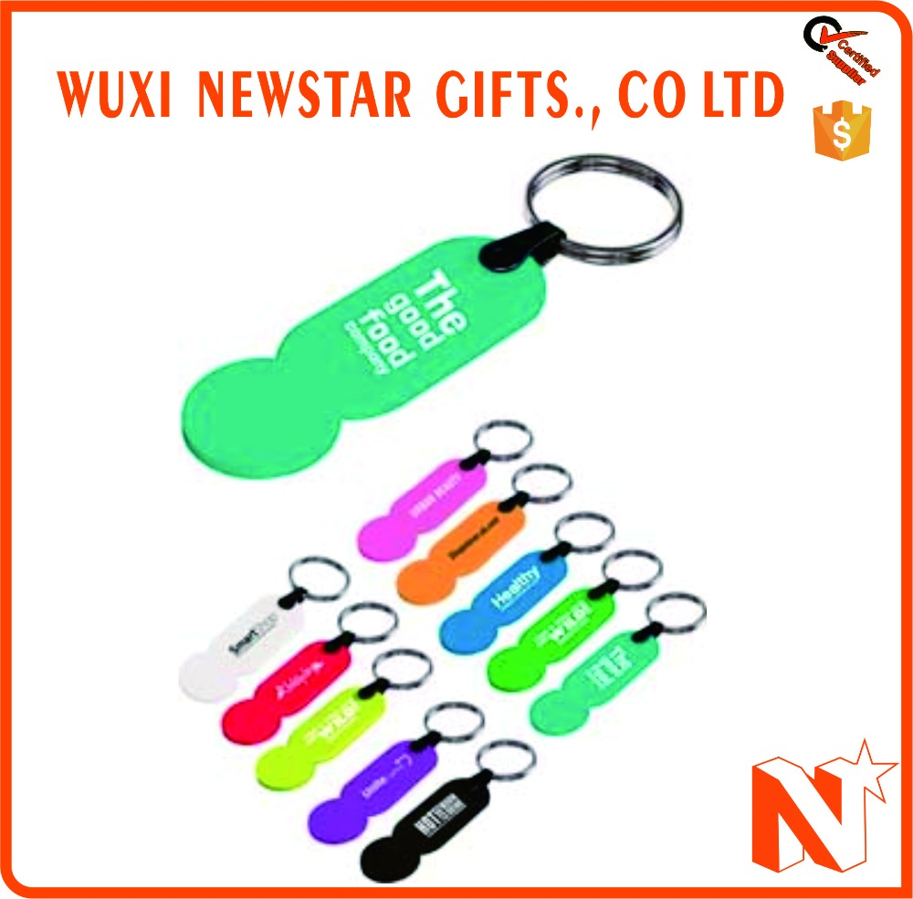 Hot Selling Promotional Plastic Trolley Coin Key Chain