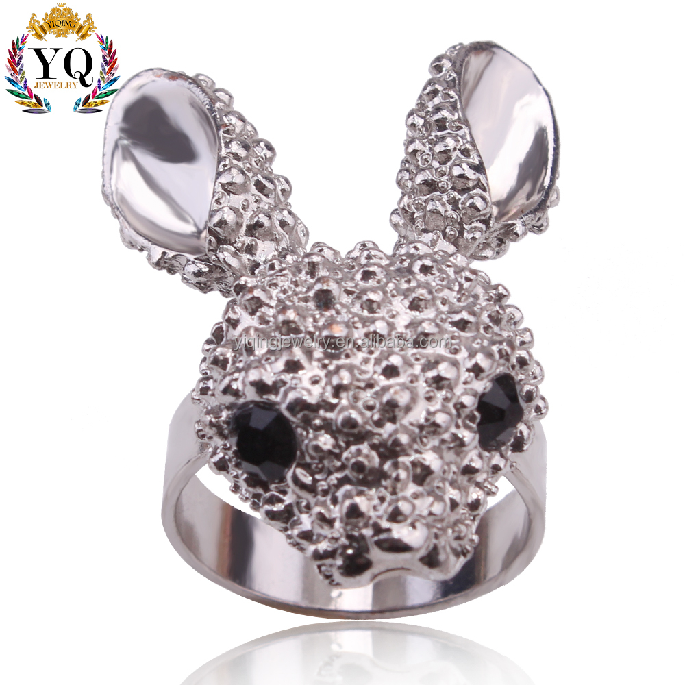 RYQ-00052 cheap wholesale simple antique silver animal shape designs cute rabbit ring for girl