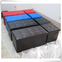 Foldable PU leather knitted ottoman wholesale