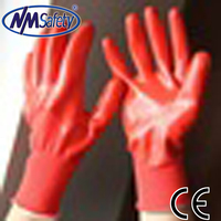 NMSAFETY oil resistant working nitrile gloves 13 gauge knitted red nylon nitrile on palm smooth finish safety gloves