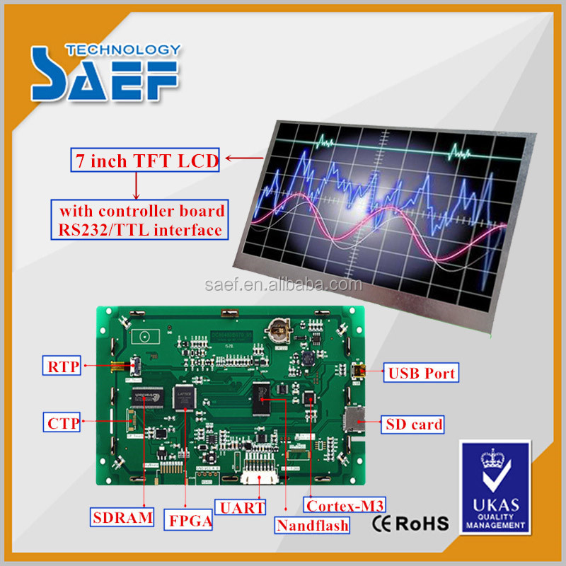 7 inch IPS serial lcd display module with/without touch panel 800 x RGB x 480 pixel