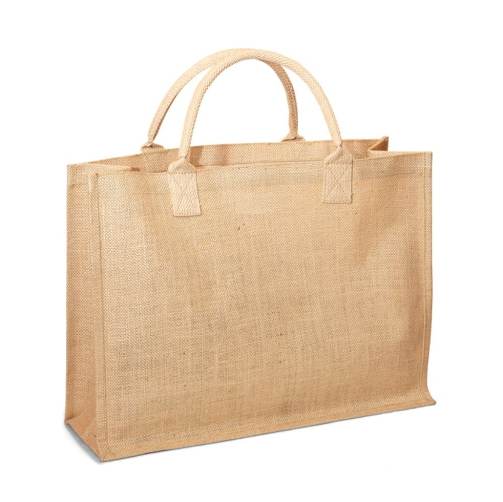 Eco-Friendly Jute Burlap Beach Shopping Tote Bag - features cotton webbed handles and comes with your logo.
