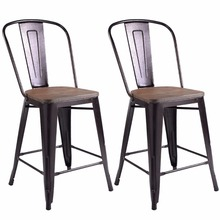 Metal Wood Counter Stool Kitchen Dining Bar Chairs Rustic