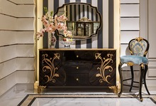 TH-023-Luxury Solid Wood Drawing Furniture Antique gilt Painted Console Cabinets Wooden Cabinet Designs For Living Room