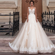 FA14 Vestido De Novia A line Lace Wedding Dress Sexy Plus Size Sheer Back Bridal Dresses Robe De Novia Princess Wedding Gown