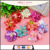 Multi-colors three fabric flowers hair clips for long hair claws jaw hair clips with spring clip
