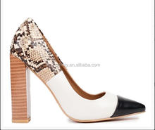 fashion women high thick heel snake skin material shoes